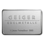 1 oz Geiger Silver Bar .999 Fine
