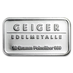 10 gram Geiger 'Security Line' Silver Bar .999 Fine