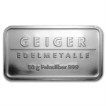 50 gram Geiger 'Security Line' Silver Bar .999 Fine