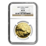 2007 1 oz Gold Chinese Panda MS-68 NGC