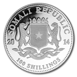 2014 1 oz Silver Somalian Elephant - Brilliant Uncirculated