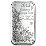 2013 1 oz Christmas Poinsettia Silver Bar (w/Pouch & Capsule)