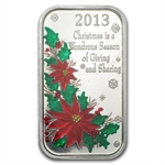 2013 1oz Christmas Poinsettia Enameled Silver Bar (w/Pouch & Cap)