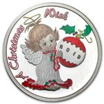 2013 1oz Christmas Angel Enameled Silver Round (w/Pouch & Cap)