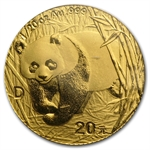 2001 D (1/20 oz) Gold Chinese Pandas - (Sealed)