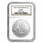 2000-P Library of Congress $1 Silver Commemorative - MS-70 NGC
