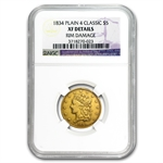 1834 $5 Gold Classic Head Half Eagle - Plain 4 - XF Details NGC