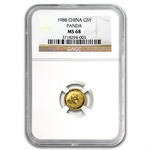 1988 (1/20 oz) Gold Chinese Pandas - MS-68 NGC