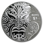 2013 1 oz Silver Proof Coin New Zealand $1 - Maori Art: Koru