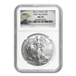 2012 Silver Eagle - MS-70 NGC - Eagle Label/First Release
