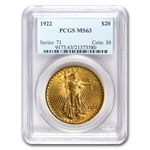 $20 St. Gaudens Gold Double Eagle Date Set - MS-63 PCGS - 7 Coins