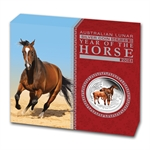 2014 1 oz Silver Year of the Horse Proof Colorized Coin