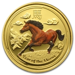 2014 1/4 oz Colorized Proof Gold Lunar Year of the Horse (SII)