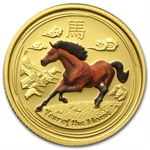 2014 1/10 oz Colorized Proof Gold Lunar Year of the Horse (SII)