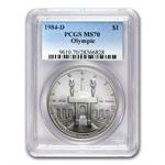 1984-D Olympic $1 Silver Commemorative - MS-70 PCGS