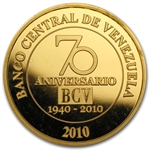 Venezuela 2010 Gold 50 Bolivares (Proof) Central Bank