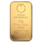 50 gram Austrian Mint Gold Bar .9999 Fine (In Assay) - New Bars!