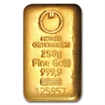 250 gram Austrian Cast Gold Bar .9999 Fine