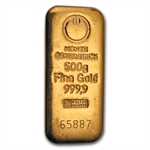 500 gram Austrian Cast Gold Bar .9999 Fine