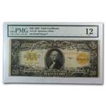 Series 1922 $20.00 Gold Certificate - Washington - (PMG Fine 12)