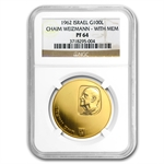 1962 Israel Chaim Weizmann Proof Gold 100 Lirot - PF-64 NGC