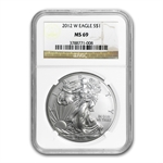 2012-W (Burnished) Silver American Eagle MS-69 NGC
