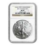 2011-W (Burnished) Silver Eagle MS-69 NGC 25th Anniv