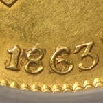 Mexico 1863/53 Gold 8 Escudos - Genuine PCGS