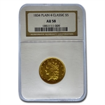 1834 $5 Gold Classic Head Half Eagle - Plain 4 - AU-58 NGC