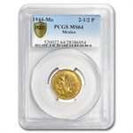 Mexico 1944 2 1/2 Pesos Gold Coin PCGS MS-64