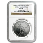 1986 1 oz Swiss Platinum William Tell (MS-69 NGC)