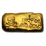 1 oz Skull & Bones Gold Bar .999 Fine