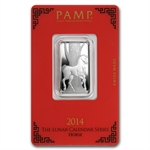 10 gram Pamp Suisse Silver Bar - Horse (In Assay)