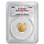 Great Britain 2001 Gold 1/2 Sovereign PCGS MS-67