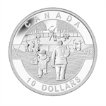 2013 1/2 oz Silver Canadian $10 Hockey (W/Box & COA)