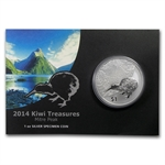 2014 1 oz Silver New Zealand Treasures $1 Kiwi Specimen Coin
