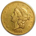 1854/1854 $20 Gold Liberty Double Eagle - (VF Details) - PCGS