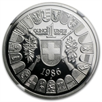 1986 1 oz Swiss Platinum Shooting Thalers (PF-68 UCAM NGC)