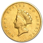 1855 $1 Indian Head Gold - Very Fine
