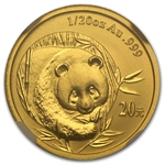2003 (1/20 oz) Gold Chinese Pandas - MS-69 NGC Mirrored Bamboo