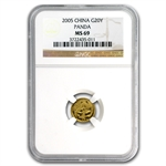 2005 (1/20 oz) Gold Chinese Pandas - MS-69 NGC