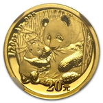2005 (1/20 oz) Gold Chinese Pandas - MS-70 NGC