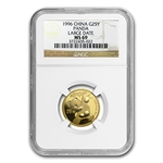 1996 (1/4 oz) Gold Chinese Pandas - Large Date MS-69 NGC