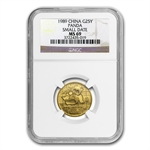 1989 (1/4 oz) Gold Chinese Pandas Small Date - MS-69 NGC