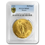 Mexico 1929 50 Pesos Gold Coin PCGS MS-65