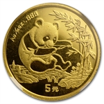 1994 (1/20 oz) Gold Chinese Pandas - MS-70 NGC Small Date