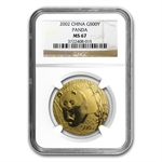 2002 1 oz Gold Chinese Panda MS-67 NGC