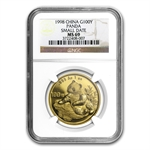 1998 1 oz Gold Chinese Panda MS-69 NGC - Small Date
