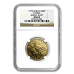 1992 (1/2 oz) Gold Chinese Pandas (Small Date) MS-69 NGC