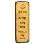 100 gram Chinese Gold Bar .9999 Fine
